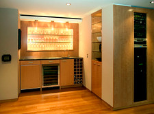 Block Mottled Anigre Veneer Wet Bar