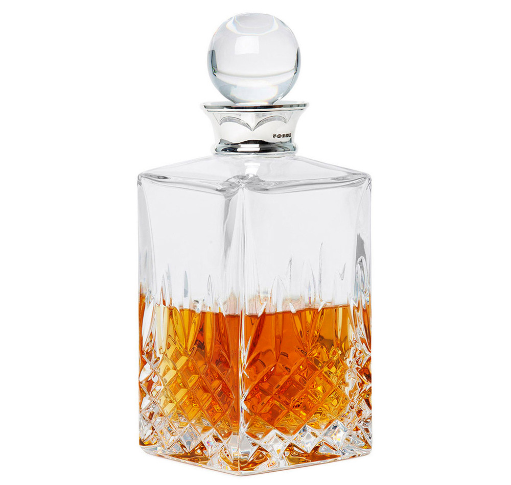 sterling silver crystal square balmore whiskey decanter. Black Bedroom Furniture Sets. Home Design Ideas