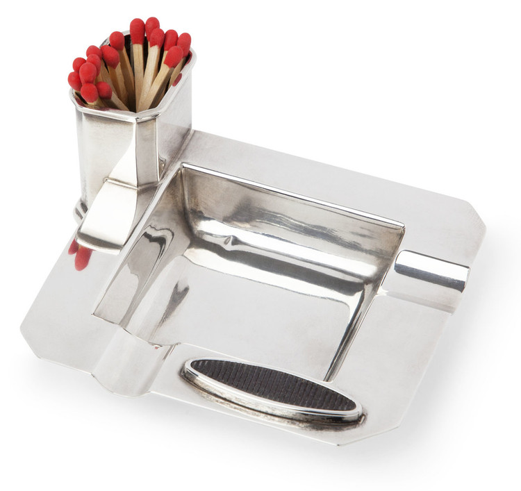 English Sterling Silver Ashtray and Match Striker