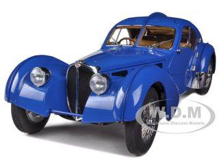 1938 Bugatti 57sc Atlantic Blue With Metal Wire Spoke Wheels 1 18 Diecast Model Car Autoart