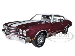 1970 Chevrolet Chevelle SS 454 Black Cherry Limited to 1500pc Worldwide 1/18 Diecast Car Model Autoworld AMM1011