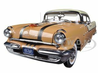 1955 Pontiac Star Chief Hard Top Firegold / White Mist 1/18 Diecast Model Car Sunstar 5043