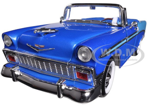 1956 chevrolet bel air convertible blue 1 18 diecast car. Black Bedroom Furniture Sets. Home Design Ideas