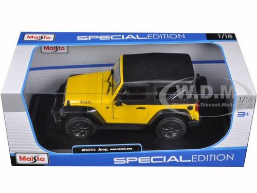 Black//Yellow Maisto 2014 Jeep Wrangler 1:18 Special Edition Diecast Car