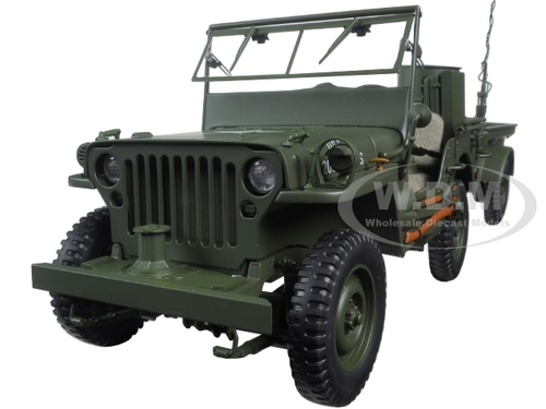 jeep willys army green with trailer and accessories 1 18 diecast model autoart 74016. Black Bedroom Furniture Sets. Home Design Ideas