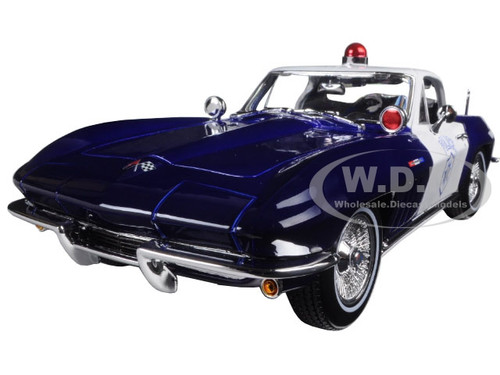 maisto Modèle 1:18 Chevrolet Corvette Sting Ray C2 1965 Police Bleu Foncé