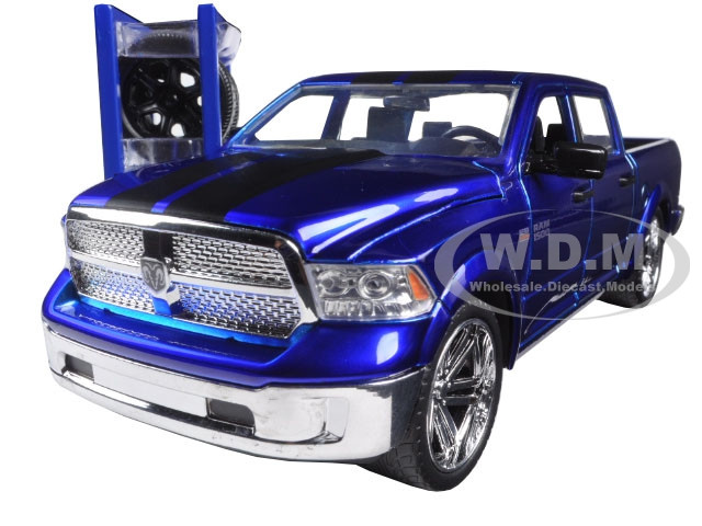 2014 dodge ram 1500 pickup truck blue just trucks with extra wheels 1 24 diecast model jada 97691. Black Bedroom Furniture Sets. Home Design Ideas