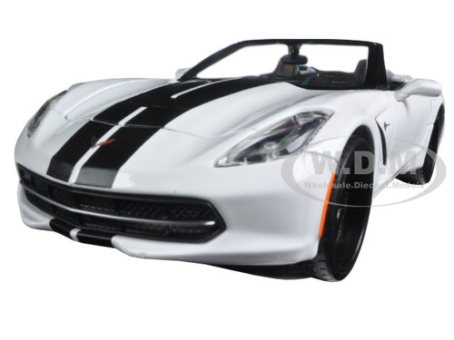 "2014 Chevrolet Corvette Stingray Convertible White ""Modern Muscle"" 1/24 Diecast Model Car Maisto 32501"