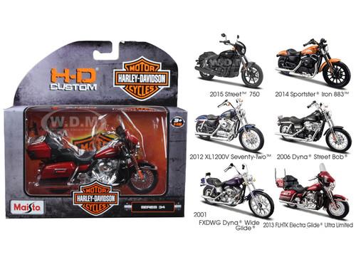 davidson motorcycle 6pc set series 34 1/18 diecast models maisto