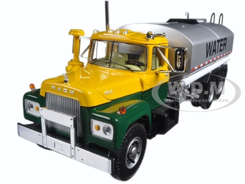 Mack R Water Tank Truck Yellow, Green, And Silver 1/34