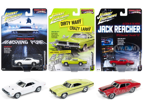 Muscle Cars USA 2017 Release 3 Set of 3 Cars 1/64 Diecast Model Cars Johnny Lightning JLMC005