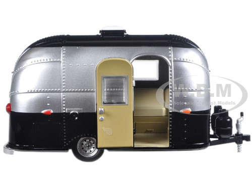 Airstream Bambi 16' Camper Trailer Black / Silver for 1/24 Scale Model Cars  and Trucks 1/24 Diecast Model by Greenlight