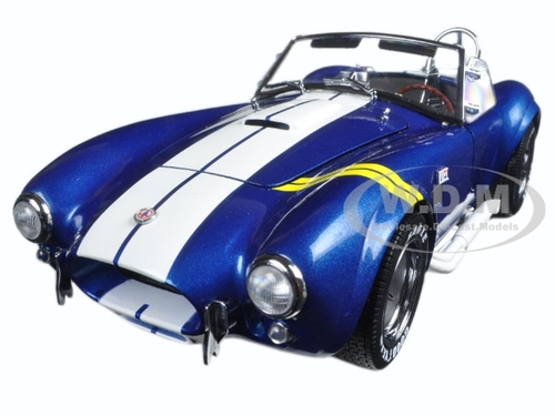 Shelby Cobra 427 S/C Blue with Yellow Stripes 1/18 Diecast Model Car Kyosho 08045 BLY