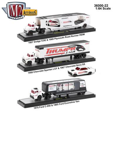 Auto Haulers Release 22, 3 Trucks Set 1/64 Diecast Models M2 Machines 36000-22