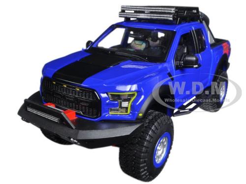 2017 ford f 150 raptor pickup truck blue off road kings 1 24 diecast model car maisto 32521. Black Bedroom Furniture Sets. Home Design Ideas