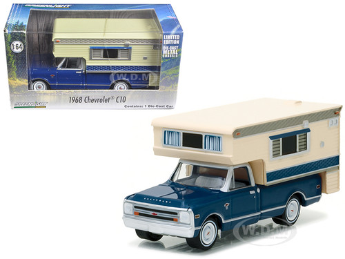 1968 Chevrolet C10 Cheyenne with Large Camper Hobby Exclusive 1/64 Diecast Model Car Greenlight 29878