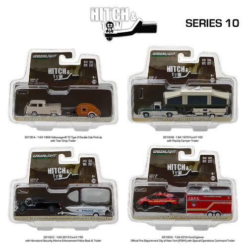 Hitch & Tow Series 10 Set of 4 1/64 Diecast Model Cars Greenlight 32100