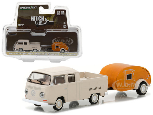 1968 Volkswagen Type 2 Double Cab Pickup and Teardrop Trailer Hitch & Tow Series 10 1/64 Diecast Model Car Greenlight 32100 A
