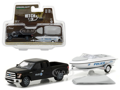 2015 Ford F-150 Pickup and Homeland Security Marine Enforcement Police Boat and Trailer Hitch & Tow Series 10 1/64 Diecast Model Car Greenlight 32100 C
