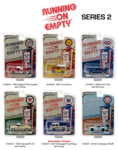 Running on Empty Series 2, 6pc Diecast Car Set 1/64 Diecast Model Cars Greenlight 41020