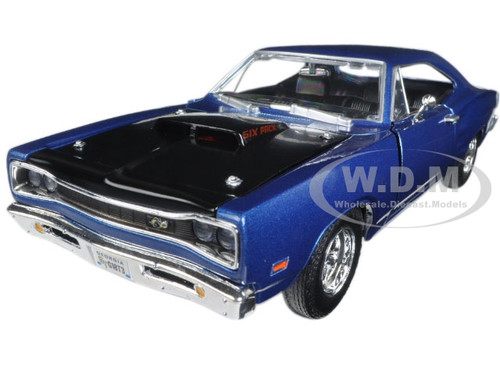 1969 Dodge Coronet Super Bee Blue 1/24 Diecast Model Car Motormax 73315AC-BL