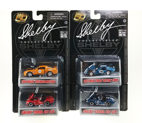Carroll Shelby 50th Anniversary 4 Pieces Set Diecast Car Set 1/64 Diecast Car Models Shelby Collectibles 16403 L