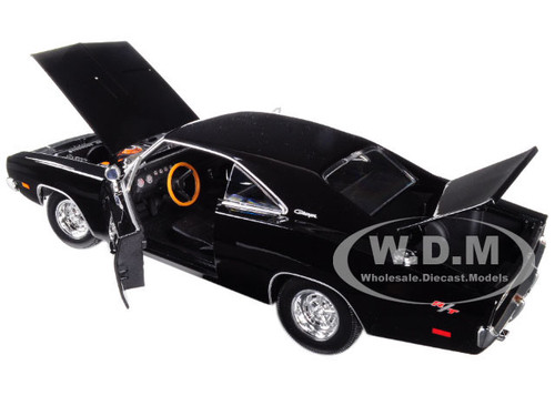Brand New 1:18 Scale Diecast Car Model Of 1969 Dodge Charger R/T Black Die  Cast Car By Maisto.
