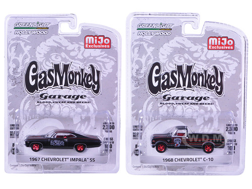 """1967 Chevrolet Impala SS and 1968 Chevrolet C-10 Pickup Truck Black Set of 2 Cars """"Gas Monkey Garage"""" (2012-Current TV Series) 1/64 Diecast Model Cars Greenlight 51120"""