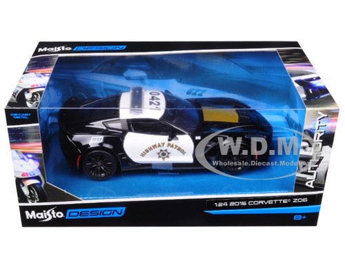 Maisto 1:24 Authority 2015 Corvette Z06 Highway Patrol Police Diecast Car 32516
