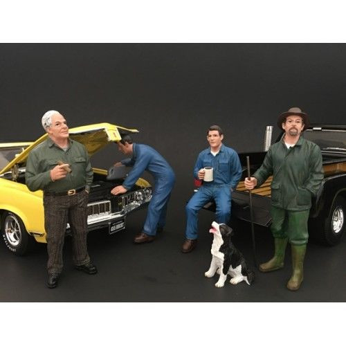 Mechanics Customer and a Dog 5 Piece Figure Set For 1:24 Scale Models American Diorama 77497 77498 77499 77500