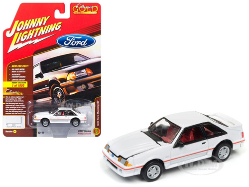 1990 Ford Mustang GT 5.0 Oxford White Solid Classic Gold Limited Edition to 1800pc Worldwide Hobby Exclusive 1/64 Diecast Model Car Johnny Lightning JLCG010 A