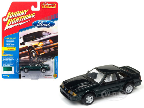 1990 Ford Mustang GT 5.0 Deep Emerald Green Classic Gold Limited Edition to 1800pc Worldwide Hobby Exclusive 1/64 Diecast Model Car Johnny Lightning JLCG010 B
