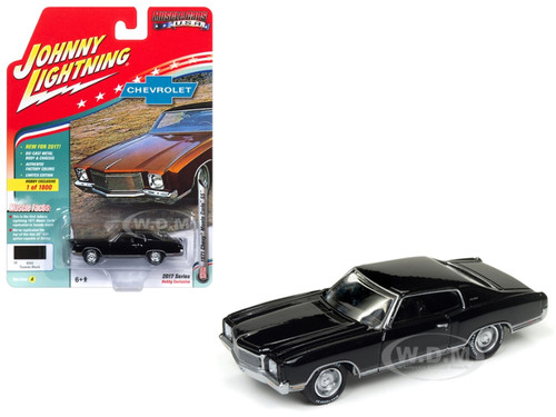 1971 Chevrolet Monte Carlo SS Tuxedo Black Limited Edition to 1800pc Worldwide Hobby Exclusive Muscle Cars USA 1/64 Diecast Model Car Johnny Lightning JLMC009 A