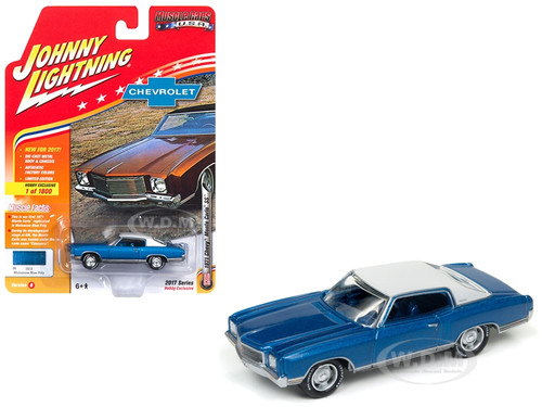 1971 Chevrolet Monte Carlo SS Mulsanne Blue Poly Limited Edition to 1800pc Worldwide Hobby Exclusive Muscle Cars USA 1/64 Diecast Model Car Johnny Lightning JLMC009 B