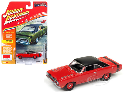 1969 Dodge Dart Swinger Bright Red with Flat Black Roof and Stripes Limited Edition to 1800pc Worldwide Hobby Exclusive Muscle Cars USA 1/64 Diecast Model Car Johnny Lightning JLMC011 B