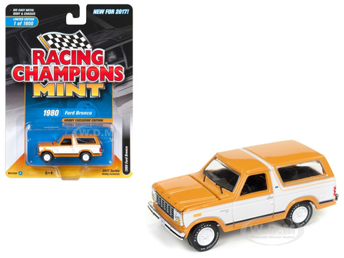 1980 Ford Bronco Bright Caramel with White Limited to 1800pc Worldwide Hobby Exclusive 1/64 Diecast Model Car Racing Champions RC006 A