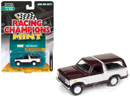 1980 Ford Bronco Maroon with White Limited to 1800pc Worldwide Hobby Exclusive 1/64 Diecast Model Car Racing Champions RC006 B