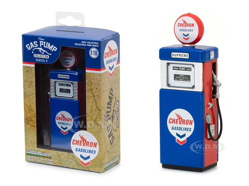 1951 Wayne 505 Chevron Supreme Gasoline Pump Replica Vintage Gas Pump Series 2 1/18 Diecast Model Greenlight 14020 A