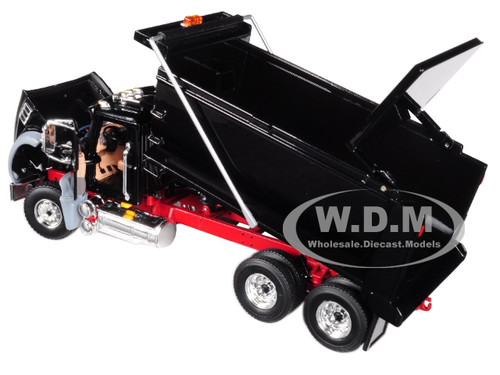 Mack Granite MP Dump Truck Black with Red Chassis 1/50 Diecast Model by  First Gear