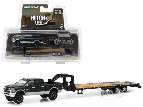 2017 Dodge Ram 2500 Pickup Truck and Gooseneck Trailer Hitch & Tow Series 12 1/64 Diecast Car Model Greenlight 32120 D