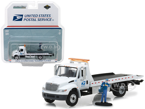2013 International Flatbed Durastar Tow Truck USPS with Mailman Figure HD Trucks Series 11 1/64 Diecast Model Greenlight 33110 B