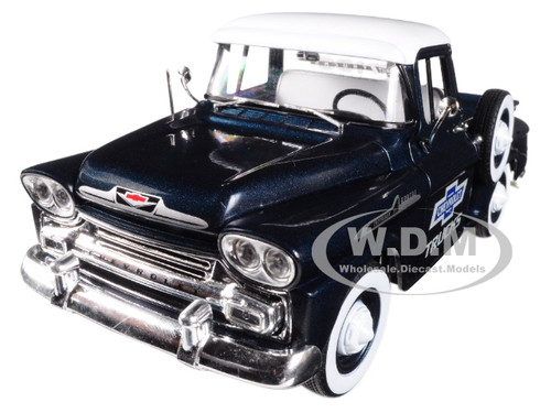 1958 Chevrolet Apache Stepside Steel Blue Metallic with Bright White Top 1/24 Diecast Model Car M2 Machines 40300-60 A