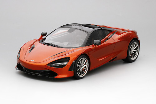 McLaren 720S Azores Orange and Black Top Limited Edition to 999 pieces 1/18 Model Car Top Speed TS0140