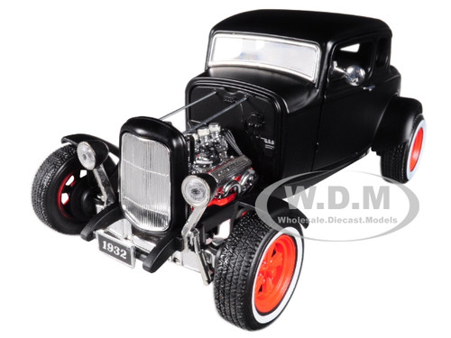 1932 Ford Custom Hot Rod Matt Black 1/18 Diecast Car Model Greenlight 12975