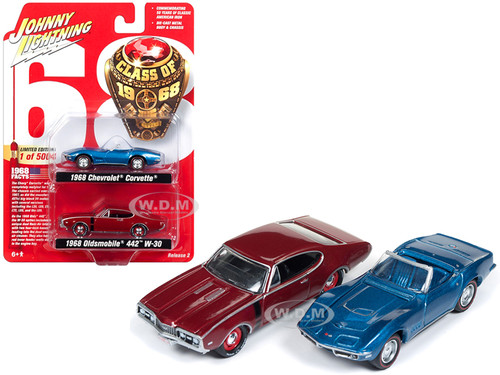 1968 Chevrolet Corvette 1968 Oldsmobile 442 Class 1968 Set 2 Limited Edition 5004 pieces Worldwide 1/64 Diecast Model Cars Johnny Lightning JLPK003