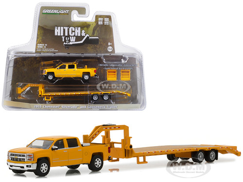 2015 Chevrolet Silverado and Gooseneck Trailer Yellow Hitch & Tow Series 13 1/64 Diecast Car Model Greenlight 32130 B