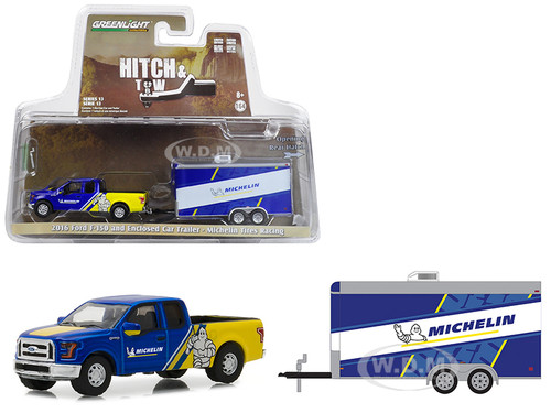 2016 Ford F-150 Michelin Tires and Enclosed Car Trailer Michelin Tires Racing Hitch & Tow Series 13 1/64 Diecast Car Model Greenlight 32130 C