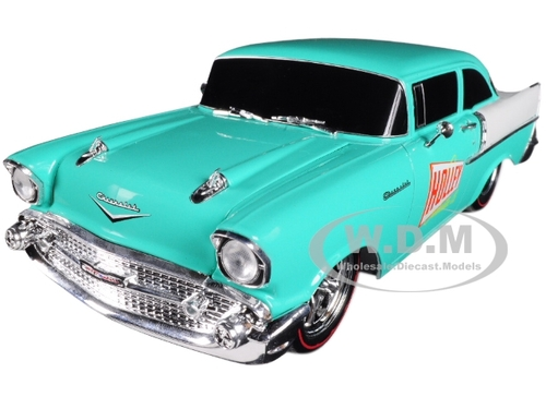 1957 Chevrolet 150 Holley Sea Foam Green and India Ivory 1/24 Diecast Model Car M2 Machines 40300-62 B