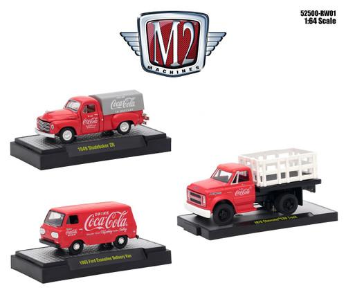 Coca-Cola Release 3pc Set 1/64 Diecast Model Cars M2 Machines 52500-RW01