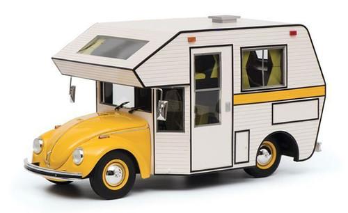 Volkswagen Kafer Motorhome Yellow White Camper Body 1/18 Model Car Schuco 450011300